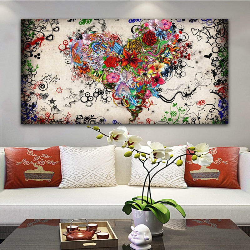 Hearts Flowers Canvas Painting - wall art