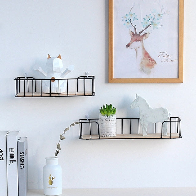 Decorative iron wooden Storage Rack Wall Shelves Garage Kit storage rack - wall art