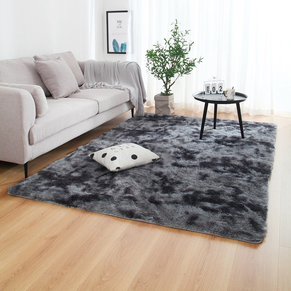 Anti-slip Floor Mats Grey Carpet Tie Dyeing Plush Soft Carpets - home and decor-oosmdeals
