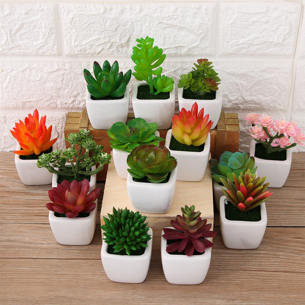 1PC Mini Artificial Succulents Plants Bonsai Potted Placed Green Fake Plants High Quality Floral Craft Table Decoration Supplies