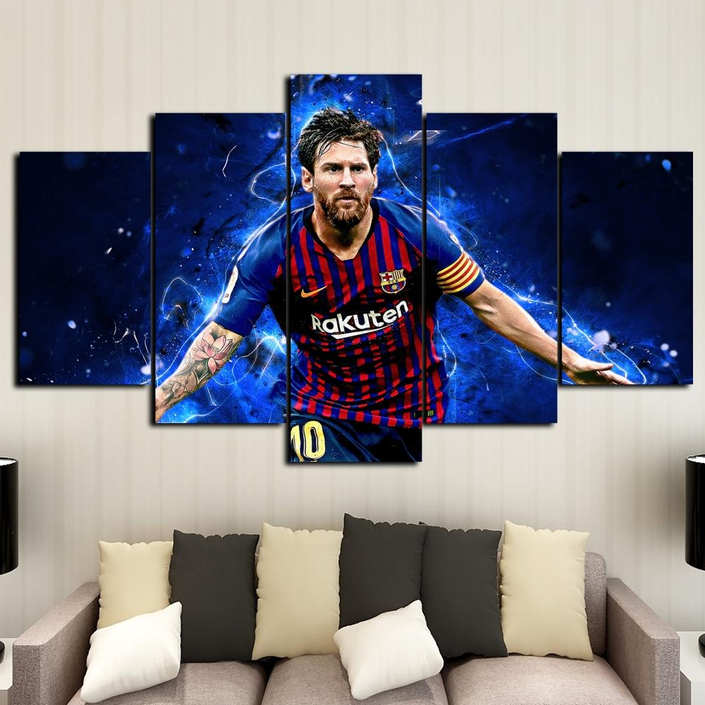 Creative 5 Pieces Messi Flag Sports Wall Posters Football Canvas Paintings Art Prints Pictures Boys Bedroom Decor - wall art