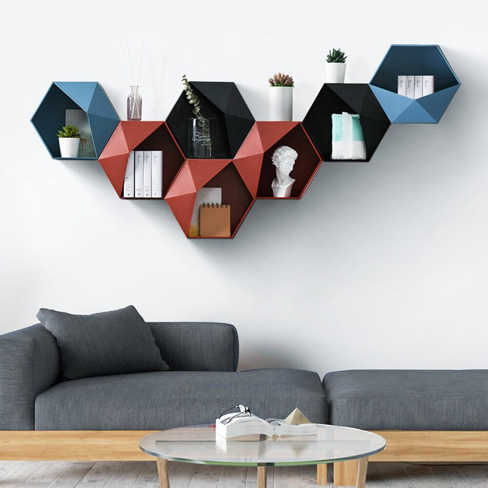 Nordic Style Geometric Hexagon Storage Rack Wall Mount Floating Shelf Display Flower Pot Holder Hanging Shelves Wall Decoration