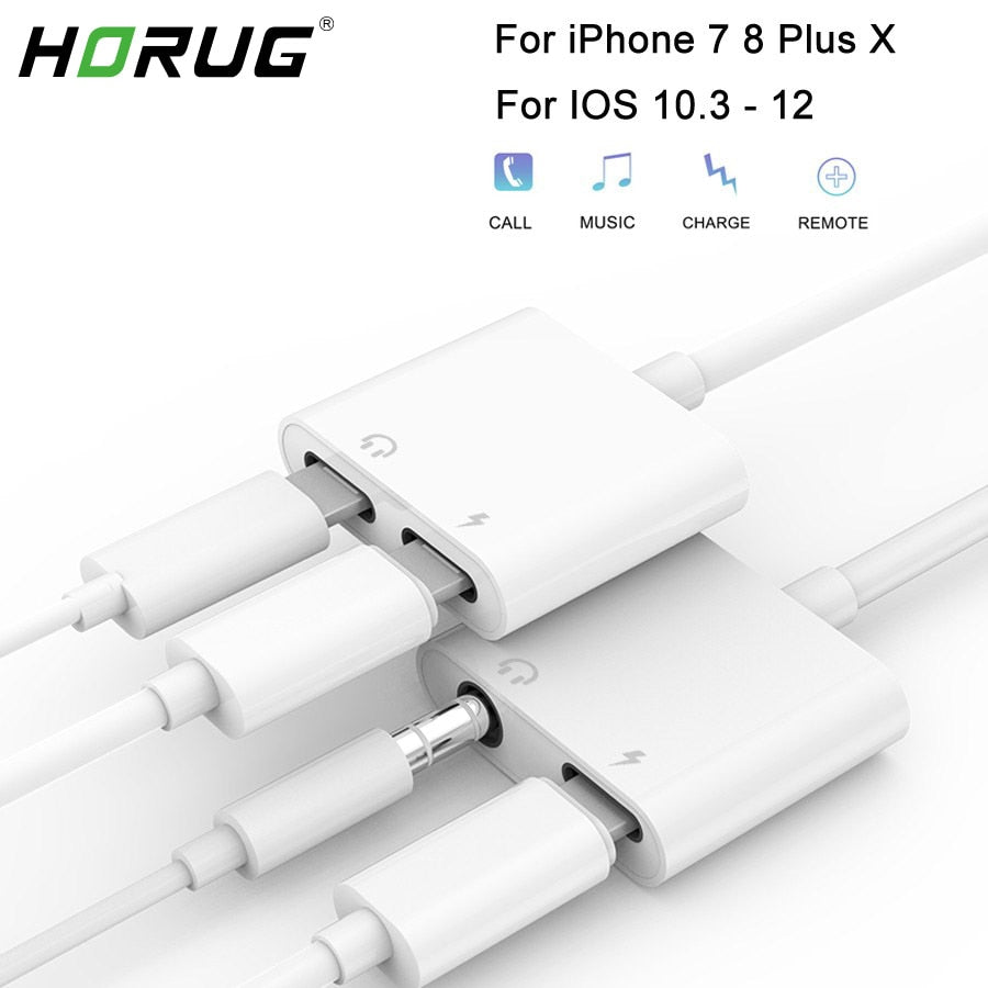 HORUG 2 in 1 Headphone Adapter For iPhone 7 8 X XS XR Phone Jack Adapter - home decor Online store