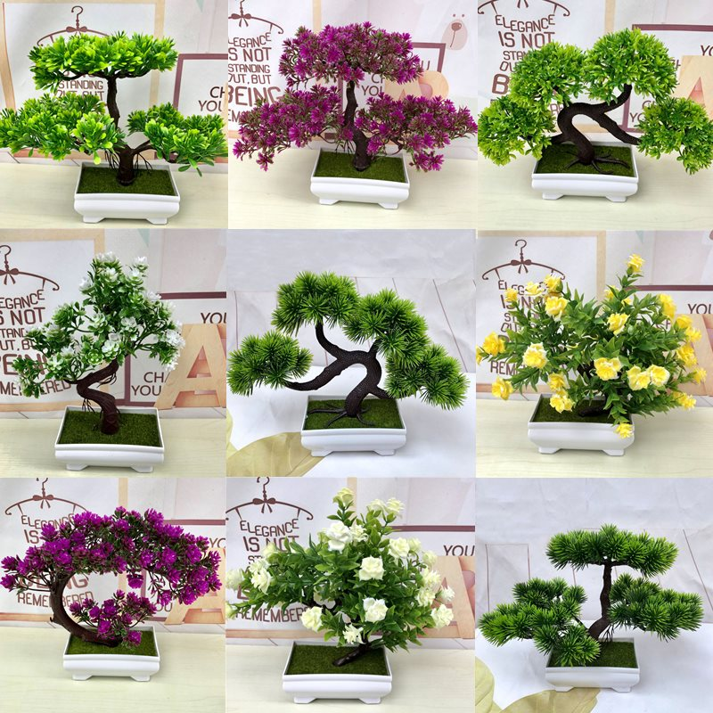 Artificial Green Plants Bonsai Simulation Plastic Small Tree Pot Plant Potted Ornaments for Home Table Garden Decor 52841 - home and decor