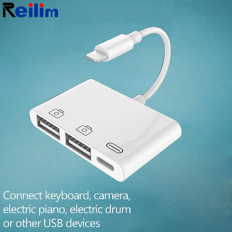 Reilim New OTG Double USB Adapter for iPhone 8 X iOS 13 USB camera U flash drive converter - home decor Online store