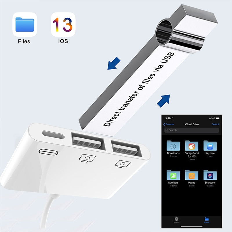 Reilim New OTG Double USB Adapter for iPhone 8 X iOS 13 USB camera U flash drive converter for lightning USB cable headphones