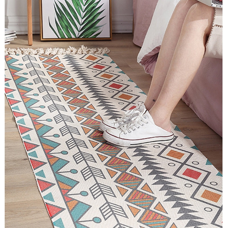Ethnic Carpet Area Rug For Bedroom Floor Long Strip Geometric Carpets For Living Room Rugs Large Cotton Oriental Decor Tapestry