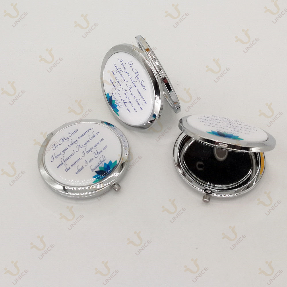 100pcs/lot Custom LOGO Portable Makeup Mirror Pocket Mirror Silver Round Cosmetic Mirrors with Gift Box and Velvet Bag