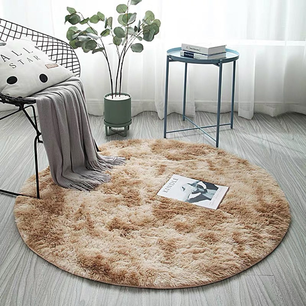 Gradient Solid Carpet Thicker Rugs Non-slip Round Mat Bathroom Area rug for living room - home and decor-oosmdeals