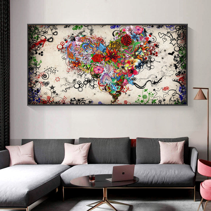 Modern Canvas Painting Abstract Colorful Heart Flowers Posters and Prints Wall Art Pictures for Living Room Cuadros Home Decor