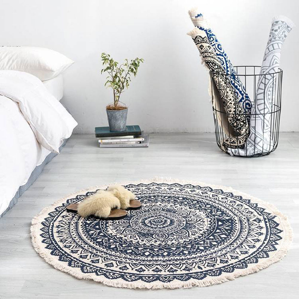 Modern bedroom tassel cotton style round carpet living room decoration - home and decor