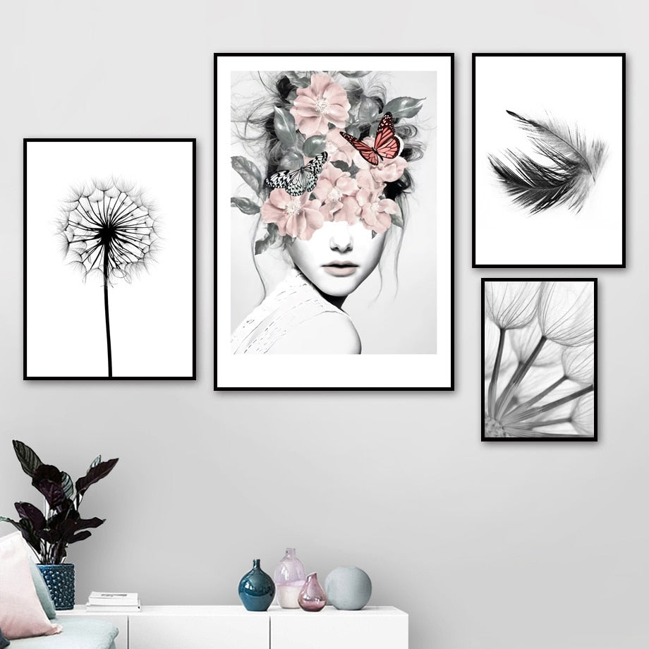 Reed Dandelion Feather Girl Wall Art Canvas Painting Nordic Posters And Prints Black White Wall Pictures - wall art