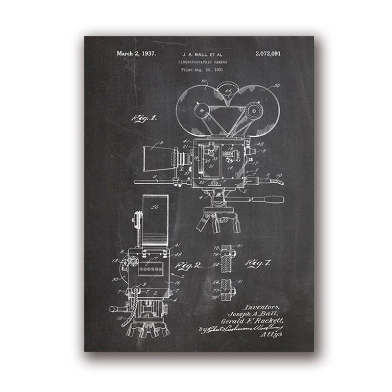 Camera Patent Vintage Posters and Prints Photographers Gift Film Retro Art Canvas Painting - wall art