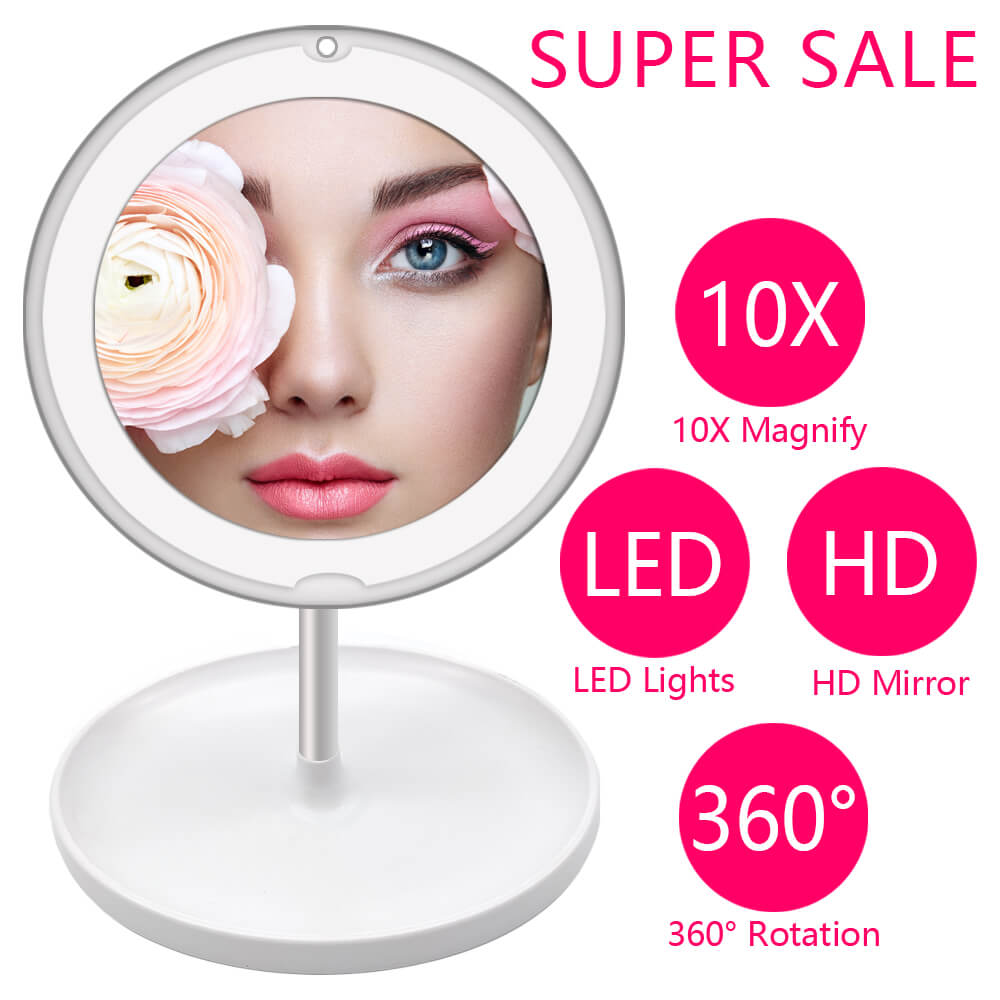 10X LED Light Makeup Mirror Lamp Magnifier Battery Portable Hand Vanity Glass Mini Miroir Bathroom Cosmetic Bath Suction Cup