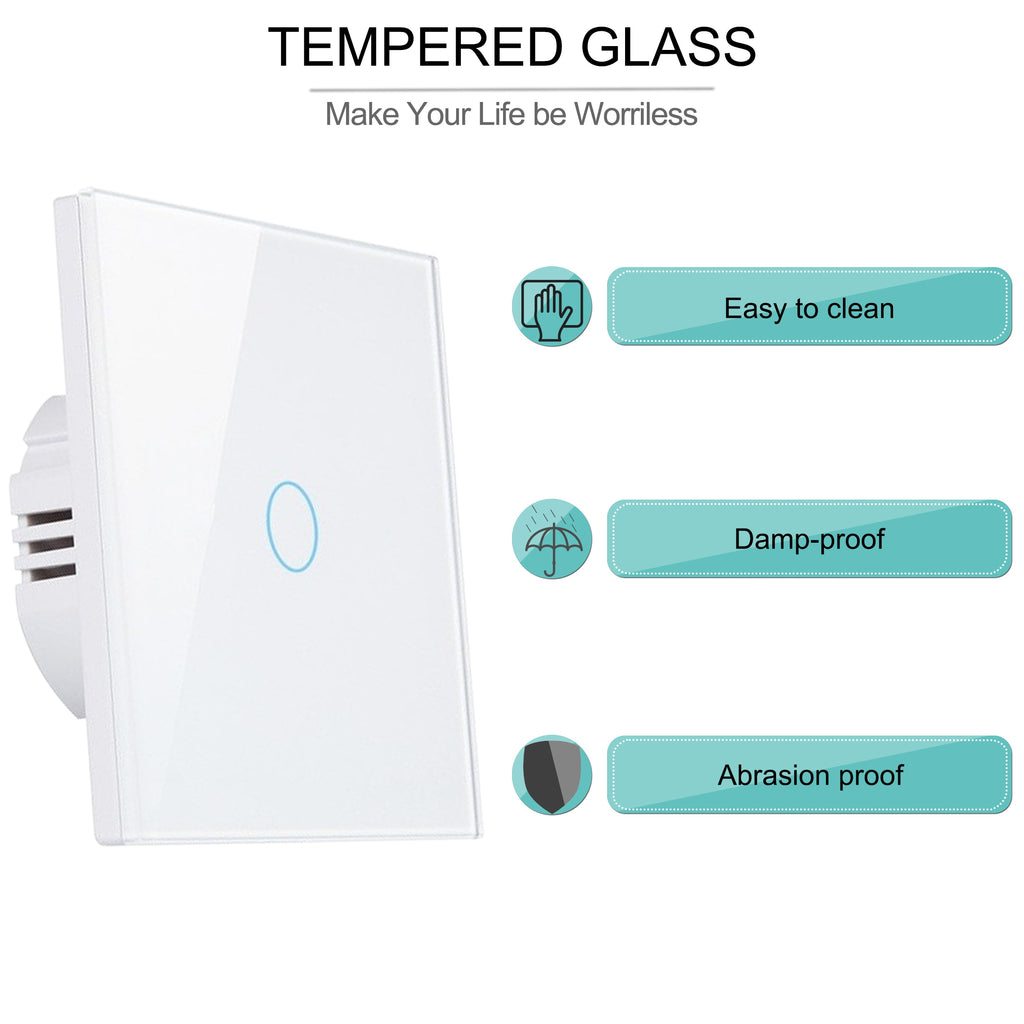 Smart Wifi Touch light Switch No Neutral Wire Required Tuya RF433 Remote Smart Home Controller Works with Alexa Google Home EU