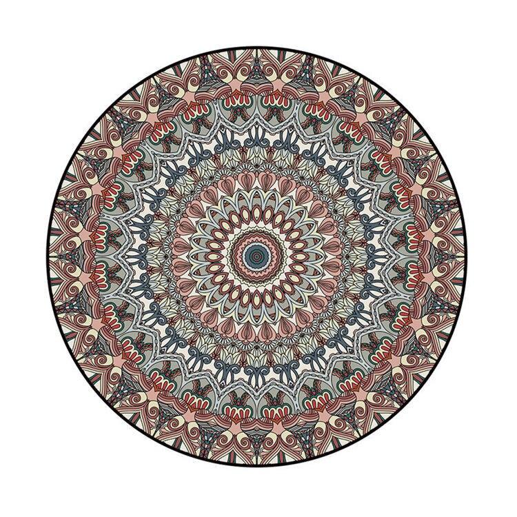 Bohemia Ethnic Mandala Round Floor Carpet Soft Classic Geometric Flower - home and decor-oosmdeals