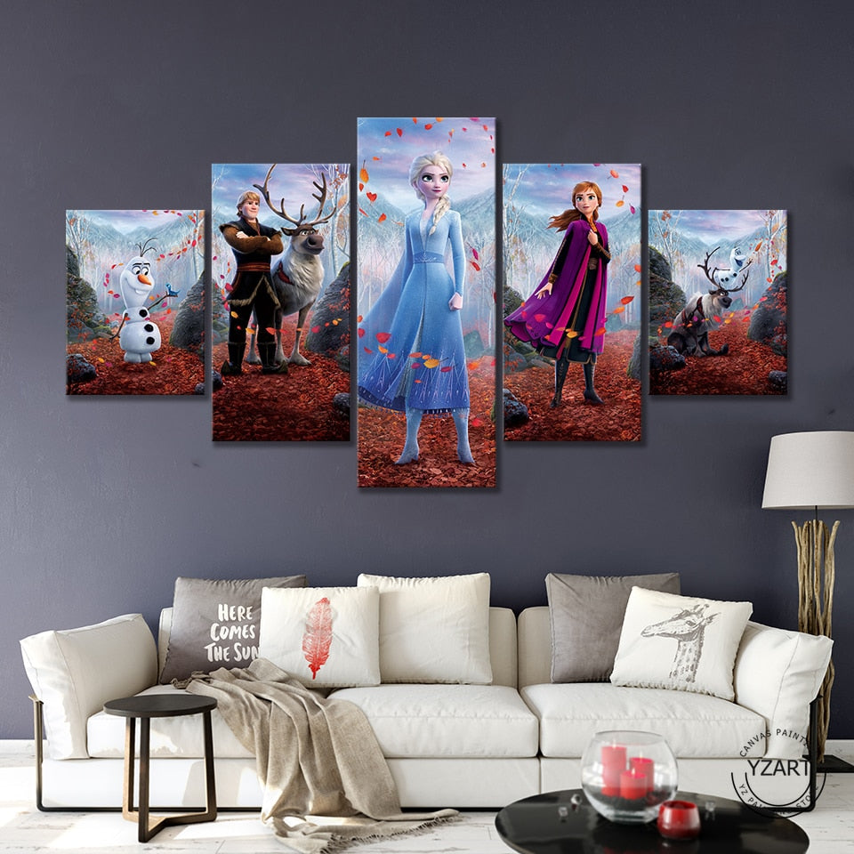 5pcs HD Cartoon Wall Picture Frozen 2 Cartoon Movie Poster Canvas Paintings Wall Art Home Decor - wall art