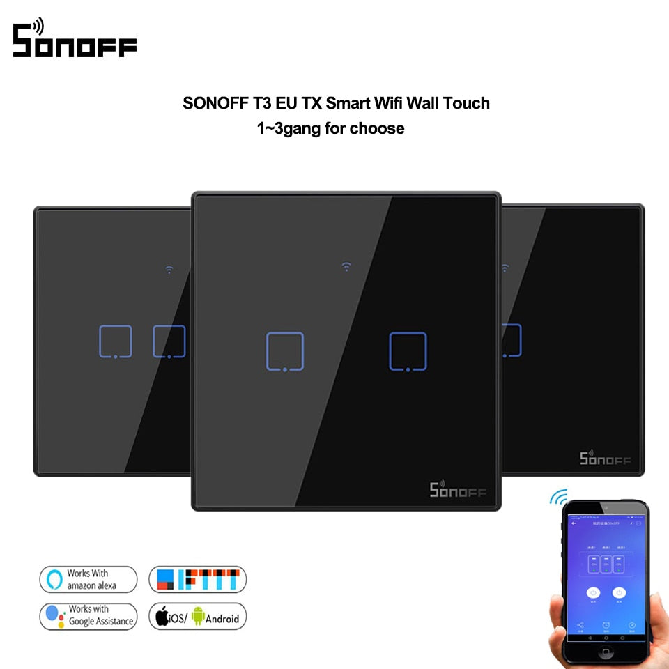Sonoff T3 EU black Smart Wifi Wall Touch Switch 1 2 3 Gang 433 RF switch remote controller - home decor Online store