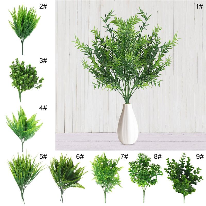 7 Fork water grass Eucalyptus Plastic Artificial Plants Green Grass plastic flower Plant Wedding Home Decoration Table Decors - home and decor