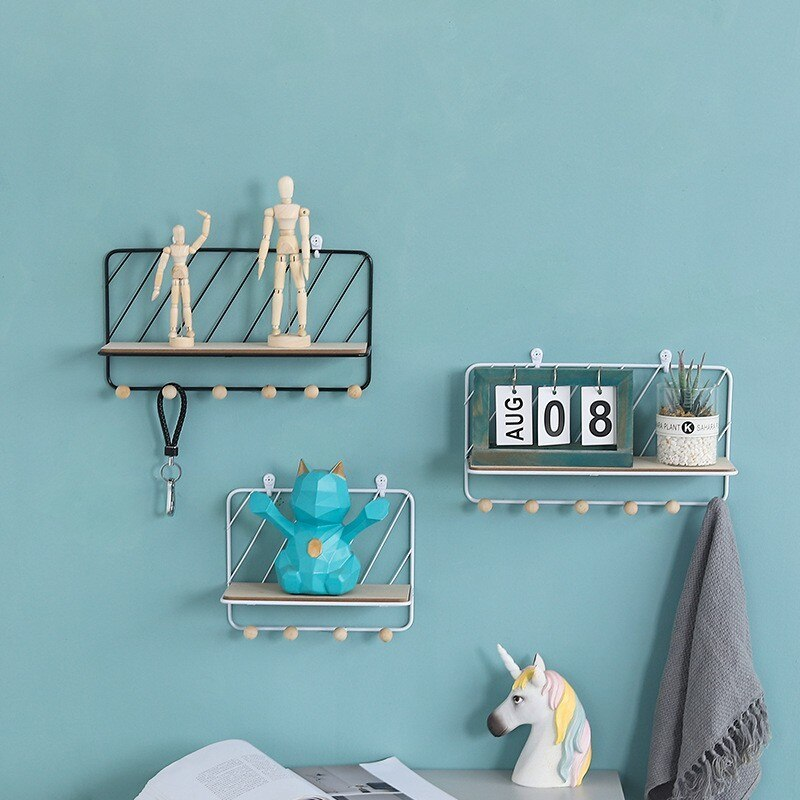 Nordic Style Metal Storage Rack Modern Wall Hanging Flower Storage Rack Key Hook Photography Props Children Room Floating Shelf