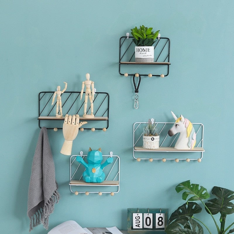Nordic Style Metal Storage Rack Modern Wall Hanging Flower Storage Rack - wall art