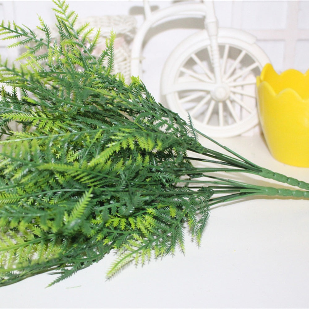 Plastic Artificial Green Plants Bonsai Beauty Green 7 Stems Grass Asparagus Fern Home Garden Party Decoration Floral Accessories