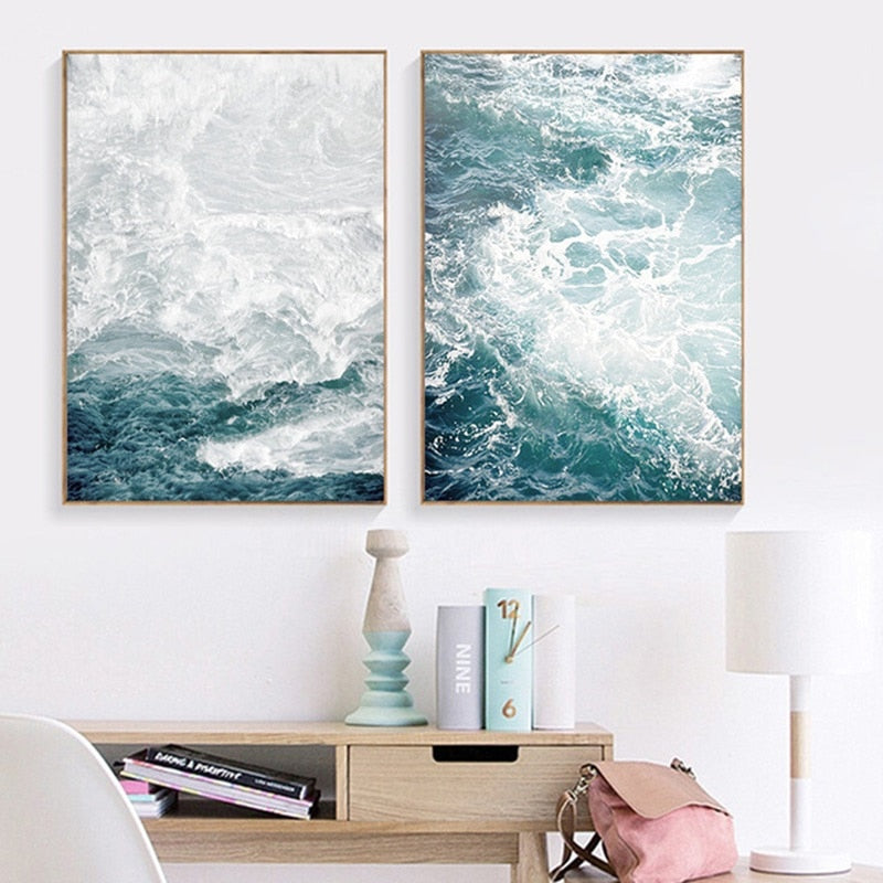 Ocean Wave Landscapes Canvas Painting Seascape Nordic Posters and Prints - wall art