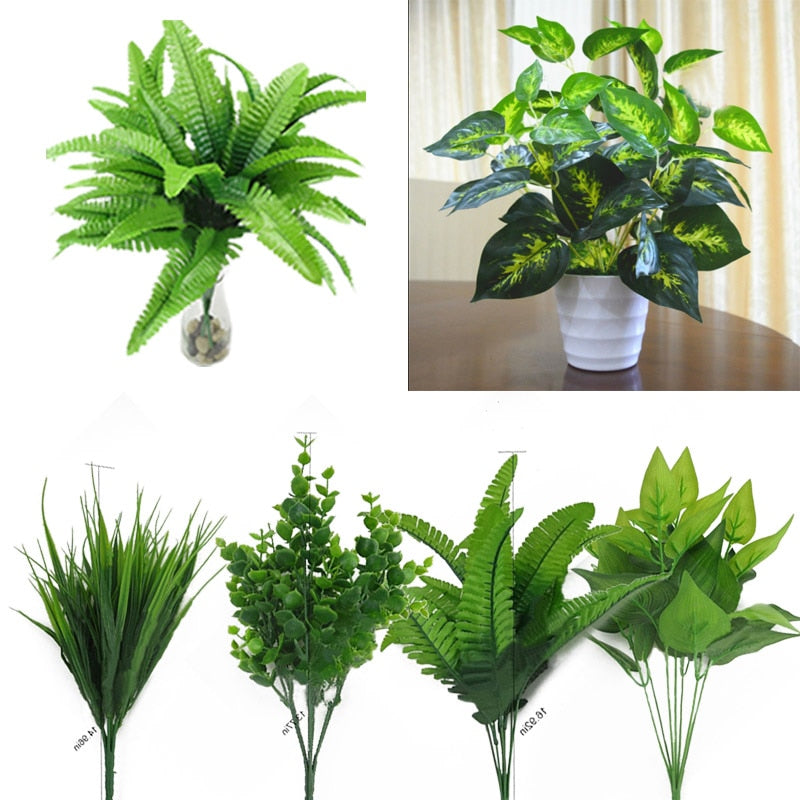 Plants Indoor Outdoor Fake Flower Leaf Foliage Bush Home Office Garden Decor Artificial Green Leave Plant - home and decor