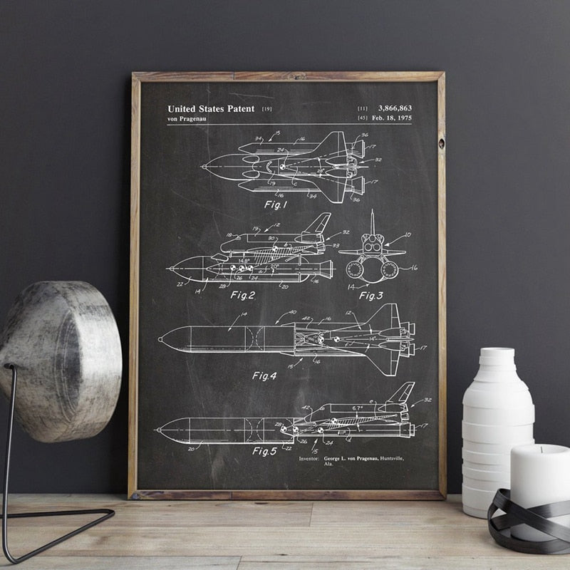 Space Shuttle Patent Blueprint Vintage Posters and Prints Outer Space Artwork Science Wall Art Canvas Painting - wall art