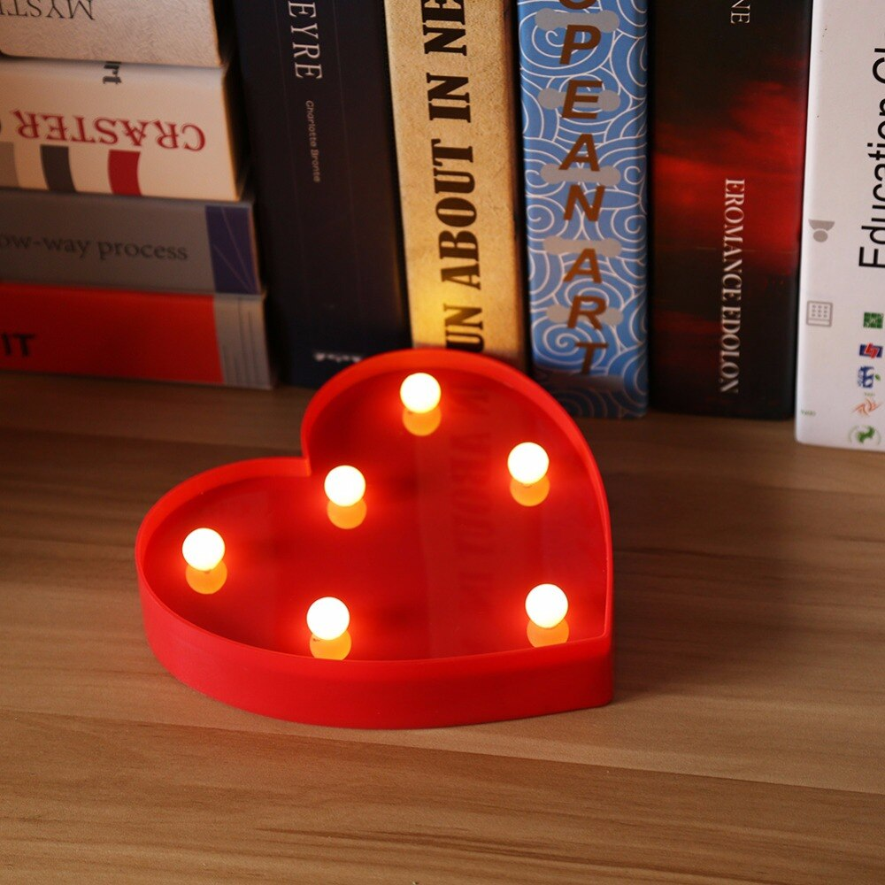 Heart LED Night Light Romantic Marquee Heart Sign Table Lamp LED Hanging Light LED Marquee Heart Home Decor Accents