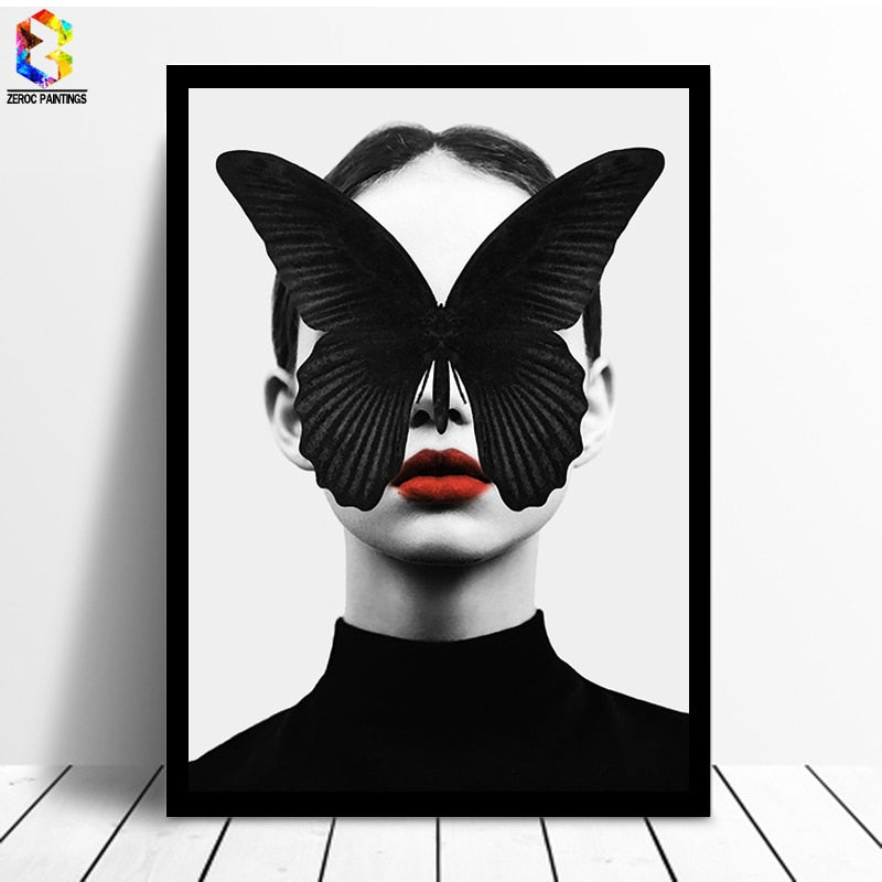 Nordic Cuadros Black White Canvas Girl Picture - wall art