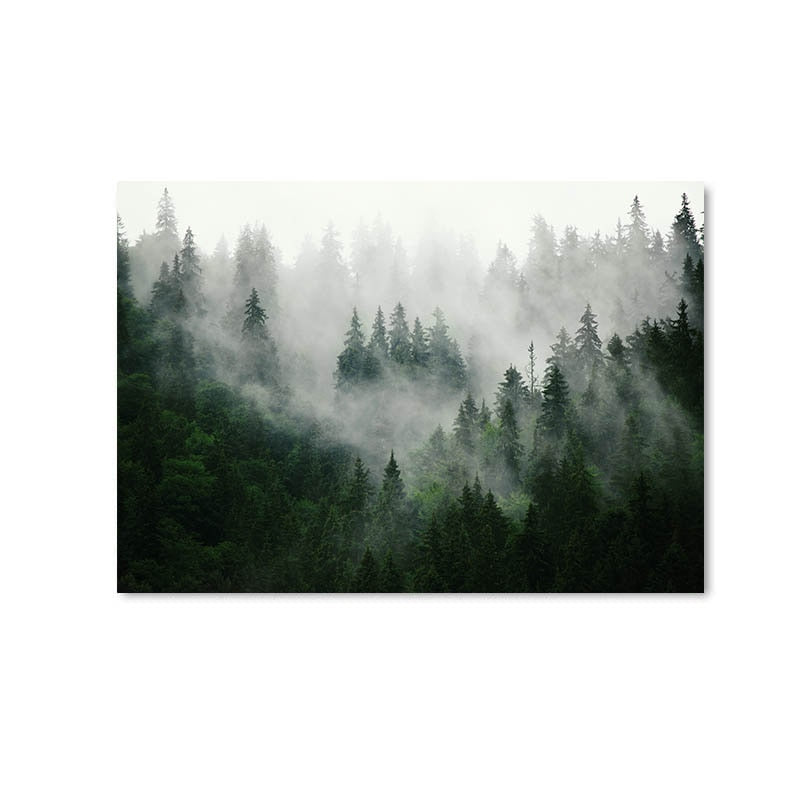 Mountain Foggy Forest Picture Nature Scenery Scandinavian Poster Nordic Decoration Landscape Print - wall art-oosmdeals