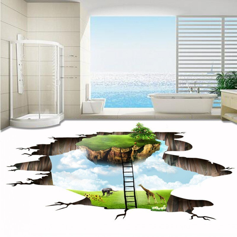 3d floating green island flooring self-adhesive - home and decor
