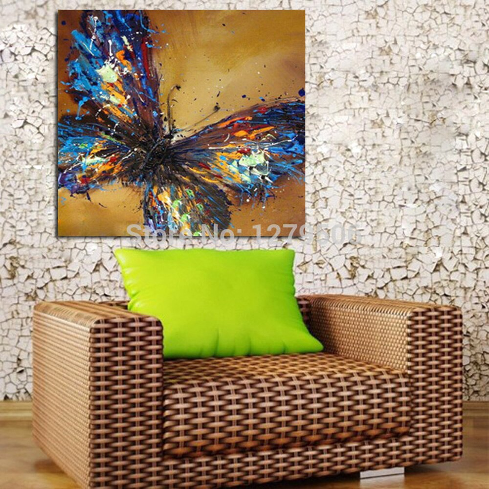 Handmade Canvas Painting Abstract Adorable Blue Butterfly Art Oil Painting On Canvas Animal Paintings For Living Room Decor