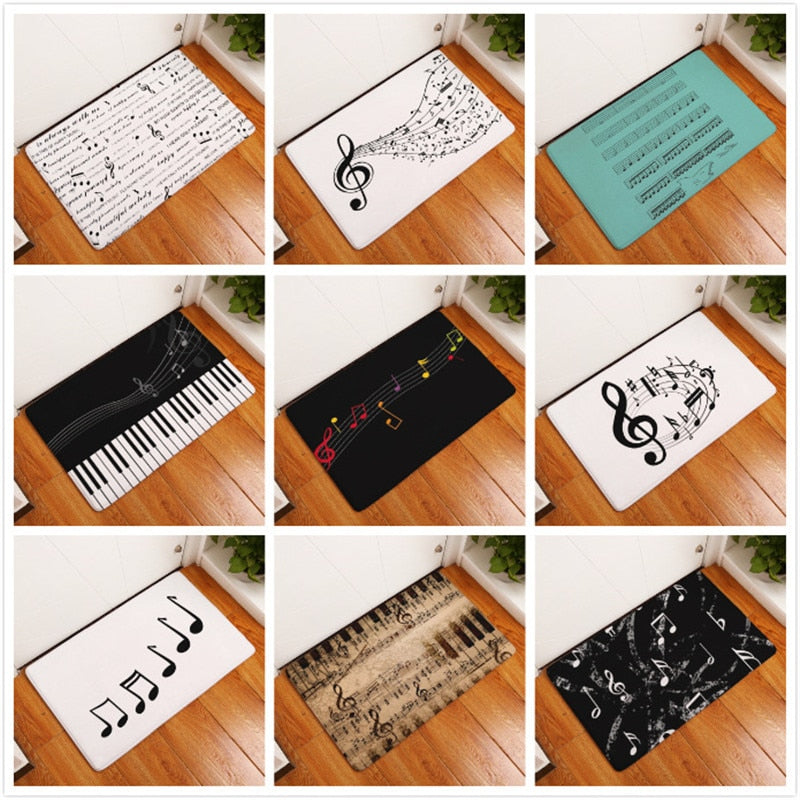 Piano Keyboard Music Note Carpet Memory Foam Rugs Flannel Carpet - home and decor