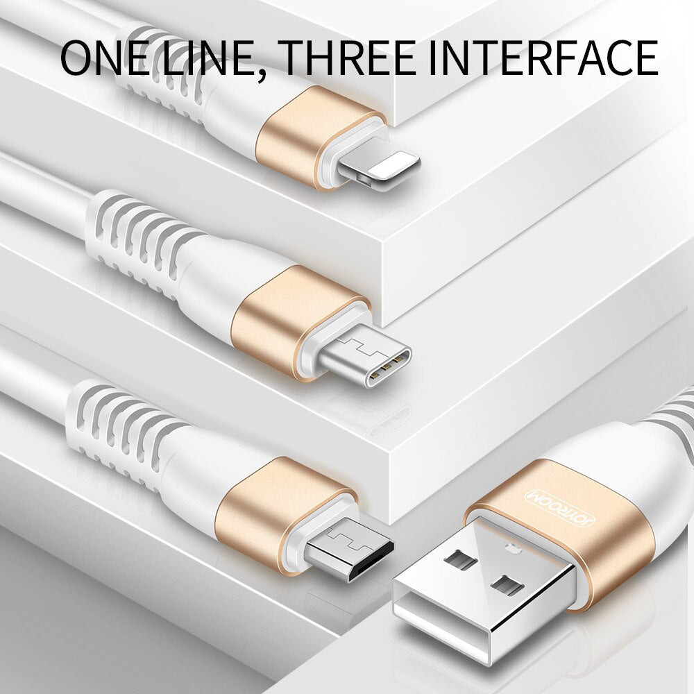 Joyroom 1.5m Mobile Phone Data Transmission Cable Micro USB Type C Lightning 3 in 1 USB Cable Android iOS Fast Charging Cable