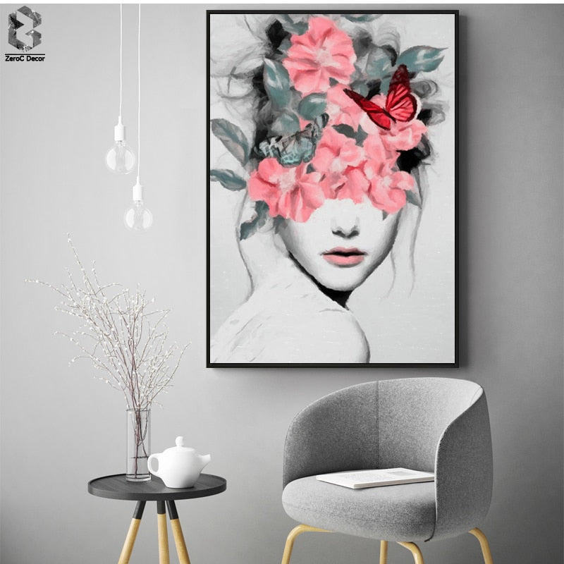 Flower Girl Portrait Canvas Prints Wall Art Painting Wall Picture Posters for Living Room - wall art