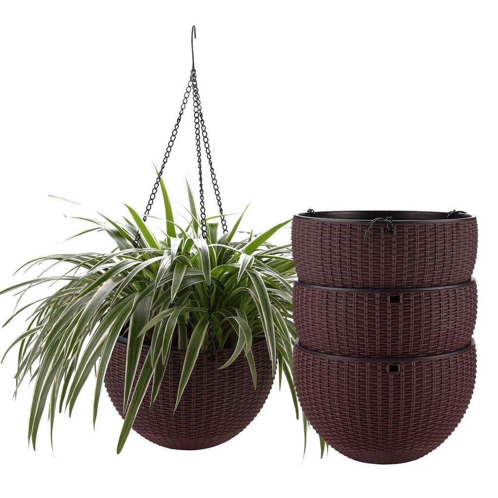 "10"" Self Watering Hanging Planter Basket with Chain Coffee Brown Modern Plastic Flower Pot Hanger Round Plant Holder Pack of 4 - home and decor"