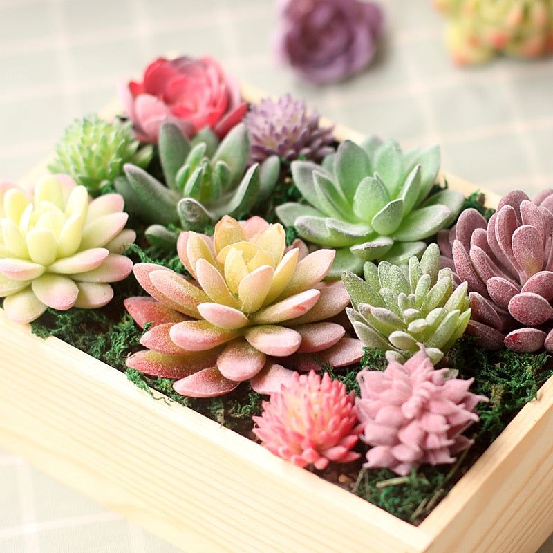Green Purple Red White Blue Flocking Artificial Succulents Plants Home Garden Decoration - home and decor