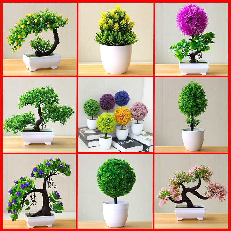 Artificial Plant Lotus Plant Potted Plastic Flower Table Top Ornaments Christmas Simulation Bonsai Craft Green Plant Decorative - home and decor
