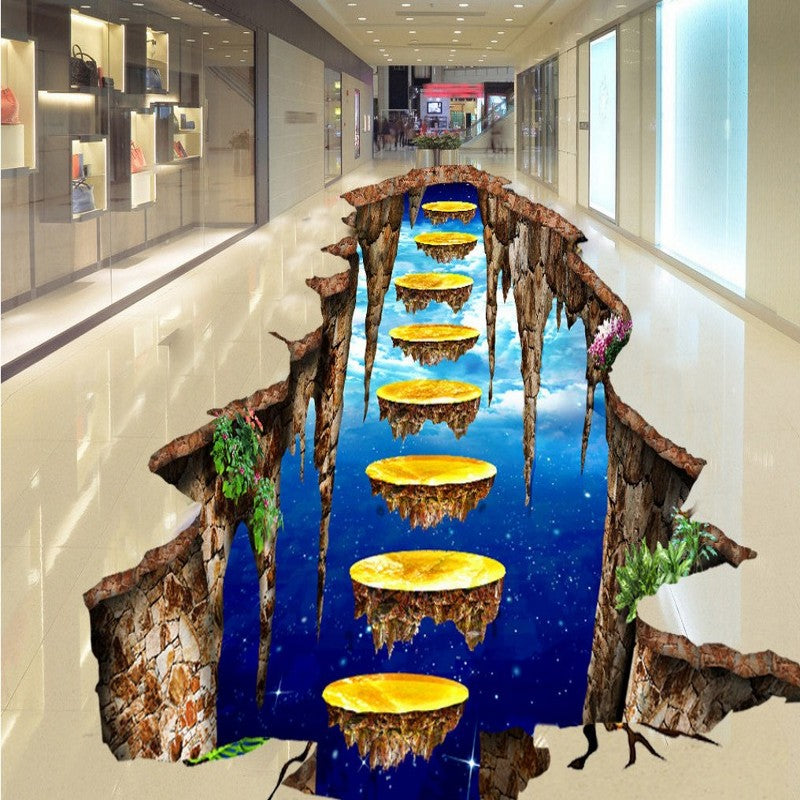 Free Shipping 3D Stereo floating corner Golden Avenue shopping mall Bathroom custom Self-adhesive wallpaper mural
