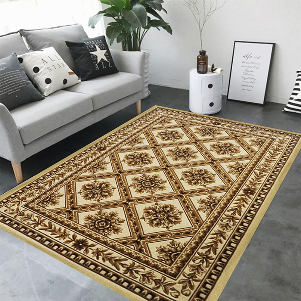 EHOMEBUY Square Carpet Chinese Classical Anti Slip Floral Pattern for Living Room/Bedroom Floor Protection Home Rug