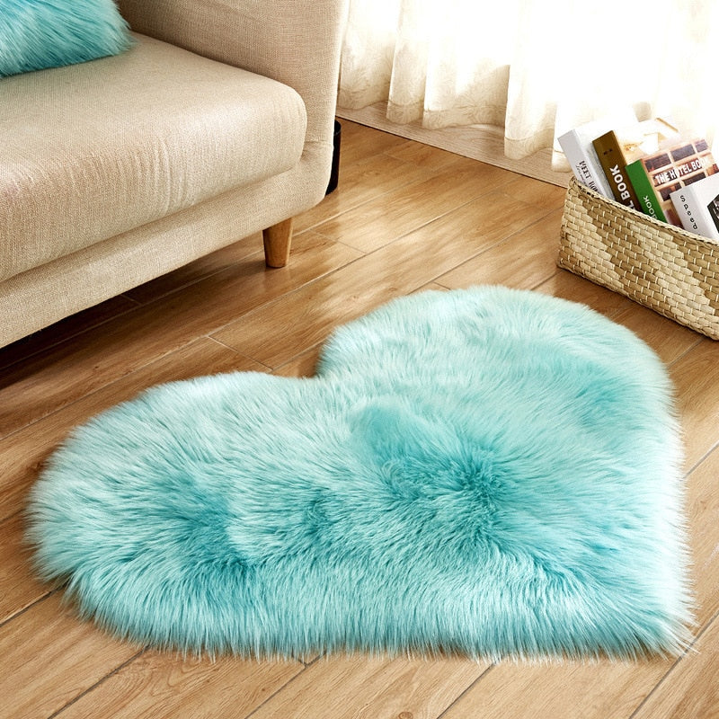 Long Hairy Rug Blue White Pink Shaggy Carpet Love Heart Shape Fur Rugs Artificial Wool Sheepskin - home and decor