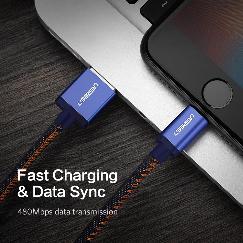 Ugreen MFi Lightning USB Cable for iPhone 11 X XS Max 2.4A Fast Charging Data Cable for iPhone 8 7 6 6s Plus Mobile Phone Cable