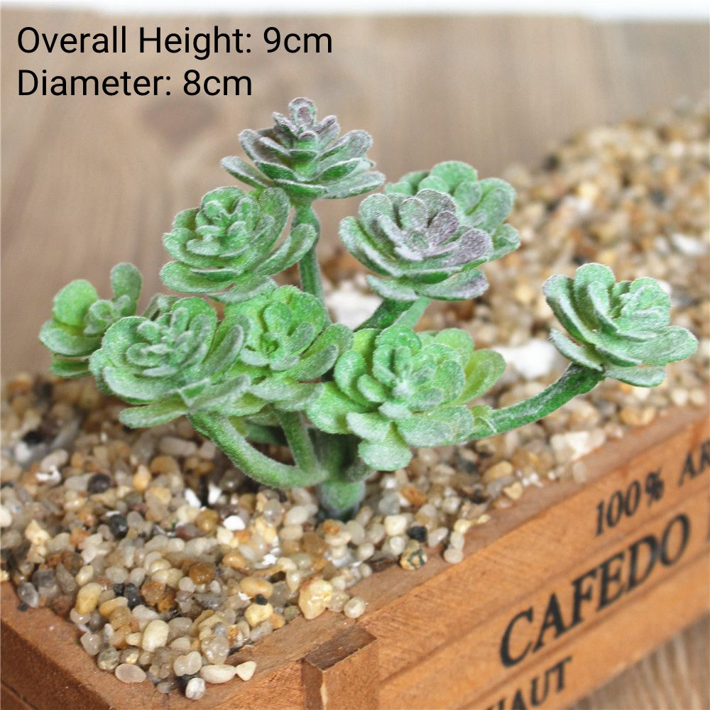 Green Purple Red White Blue Flocking Artificial Succulents Plants Home Garden Decoration - home and decor-oosmdeals