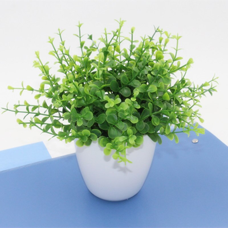 Mini Flowers Green Artificial Plant Eucalyptus Plastic Money Leaves Grass Bush Home Decoration