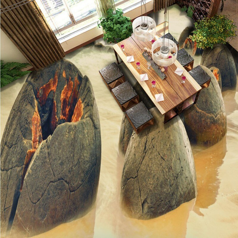 Free Shipping custom Floating sea stone flooring wallpaper 3D living room bathroom corridor floor Self-adhesive mural