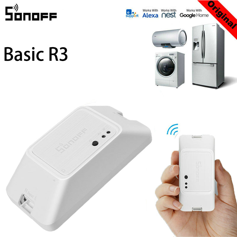 SONOFF BASIC R3 Smart ON/OFF WiFi Switch, Light Timer Support APP/LAN/Voice Remote Control - home decor Online store