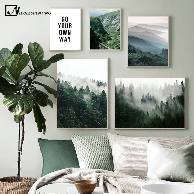 Mountain Foggy Forest Picture Nature Scenery Scandinavian Poster Nordic Decoration Landscape Print - wall art
