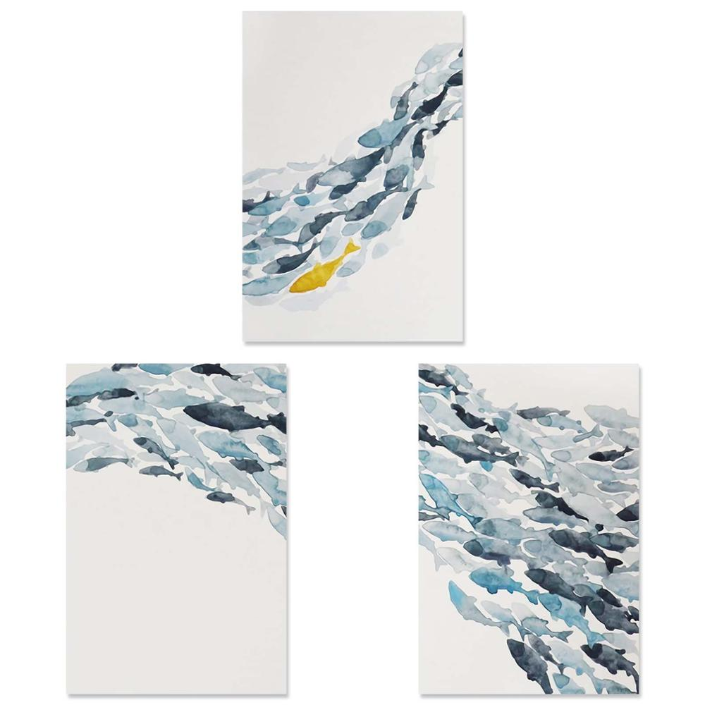 Nordic Simple Abstract Fish Group Posters and Prints Wall Art Print Canvas Painting - wall art-oosmdeals